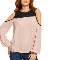 SheIn Womens Tops and Blouses For Summer Ladies Color Block Round Neck Cold Shoulder Long Sleeve Casual Blouse