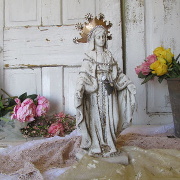 Virgin Mary statue with crown French Nordic off white distressed Madonna figure adorned in jewelry home decor anita spero design