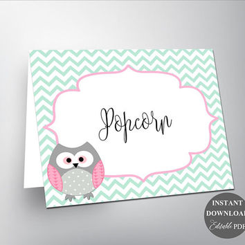 Food Cards Place Cards Buffet Sign Buffet Cards Buffet Tent Card Foof Label Cards Editable PDF Instant Download Pink Mint Green Owl (534mg2)
