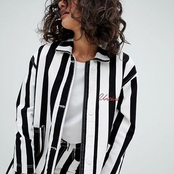Uncivilised Reff Striped Workers Jacket at asos.com