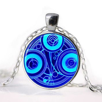 NEW Vintage TARDIS Necklace Doctor Who Time Lord Seal Pendant Time Lord Gallifreyan Glass Cabochon Necklace Pendant Gift