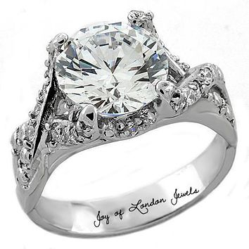 A Perfect 3CT Round Cut Russian Lab Diamond Ring