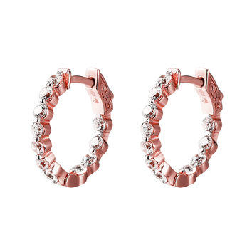 Solitaire Hoop Earring 14k Rose Gold Finish Over Sterling Silver lab diamonds