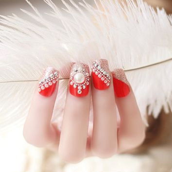 24 Pcs Full Cover Red False Nails Rhinestones Crystal 3D Design Acrylic Fake Nail Tips For Lady Sexy Makeup Tool ForParty FM88