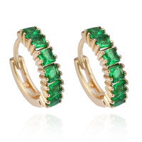18K Gold Galvanized Zircon Earrings   green