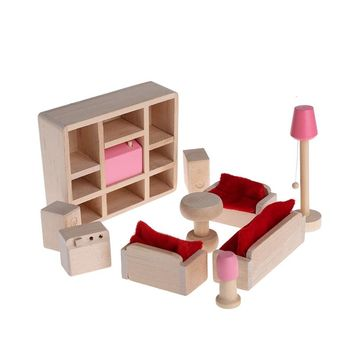 Wooden Furniture Dolls Miniature 6 Room Set Doll Toy Gift For Children Kid
