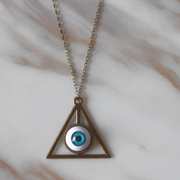Necklace, Deathly Hallows Necklace, Evil Eye Necklace, Personalized Bridesmaids Jewelry, Unique Friendship Graduation Gift