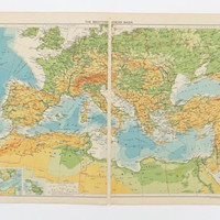 1948 Map of Mediterranean Basin, Very Large Vintage Map, Map Poster, Home Decor, Office Decor