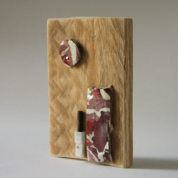 Abstract collage modern wall art recycled paper on reclaimed wood [T038]
