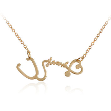 Stylish Gift Jewelry Couple Metal Necklace Heartbeat Cardiogram Graph Pendant Necklace [10893371023]