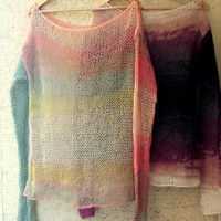 Women's Sweater Grunge Sweater with Long Sleeves in Watercolor Shades Loose Fit Boho Sweater in Pastel Colors Oversized Off Shoulder Top