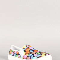 Misbehave Candy Print Canvas Slip On Sneaker