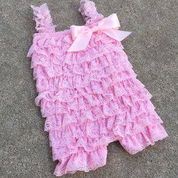 One left, baby romper, pink romper, girls romper,baby girl clothes, 3 months, 6 months, 9 months, photo prop, light pink, ready to ship
