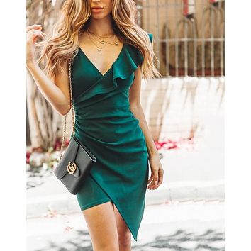 Summer Newest Popular Women Sexy Irregular Deep V Collar Slip Dress Green