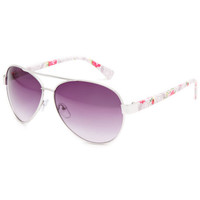 Full Tilt Floral Lace Aviator Sunglasses Nude One Size For Women 23692942801