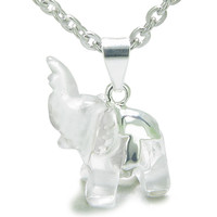 Lucky Elephant Rock Quartz Healing Powers Amulet Pendant 22 Inch Necklace