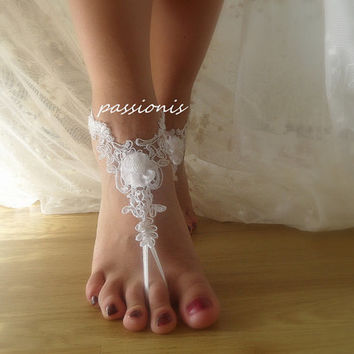 beach wedding,bridal shoes,white lace anklet,