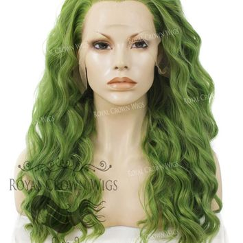 """24"""" Heat Safe Synthetic Lace Front """"Ada"""" with Wavy Texture in Galaxy Green"""