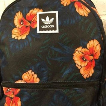 LMFOK3 Adidas' Flowers Print Navy Trending Fashion Print Sport School Shoulder Bag Satchel Backpack
