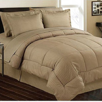 Cozy Home Down Alternative 8 Piece Embossed Comforter Set - Mocha (Queen)