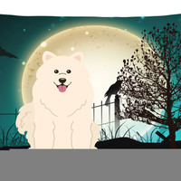Halloween Scary Samoyed Canvas Fabric Decorative Pillow BB2220PW1216