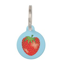 Strawberry Illustration On Blue With Pet's Info Pet Tag
