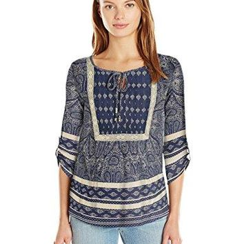 Vintage America Blues Womens Skipping Stones Border Print Peasant Top