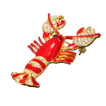 Red Epoxy Enamel Lobster Crystal Rhinestone Pin Brooch Accessories