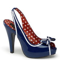 Pinup Couture Bettie Blue Patent Platforms