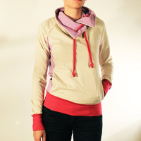 NEW Womens Beige Sweatshirt With Cowl Neck and Pink Lilac Details