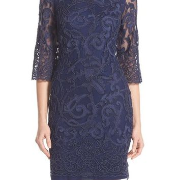 Aidan Mattox Beaded Mesh Sheath Dress | Nordstrom