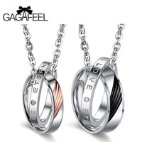 GAGAFEEL Charms Necklace Pendants Men Jewelry Choker Circle Stainless Steel Love Couple For Lover