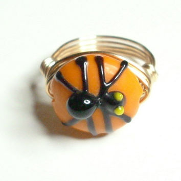 Halloween Spider black Orange Yellow Gold Wire Wrapped Ring