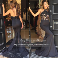 Cheap Lace Long Prom Dresses 2016 Off The Shoulder Halter Neck Stretch Satin Black Mermaid Prom Dress