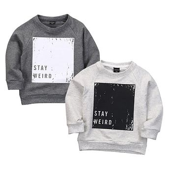 2 Colors Baby Boys Spring Autumn Pullover Tops Babies Boy Long Sleeve Letter T-Shirt Sweatshirt Clothing Toddler Clothes