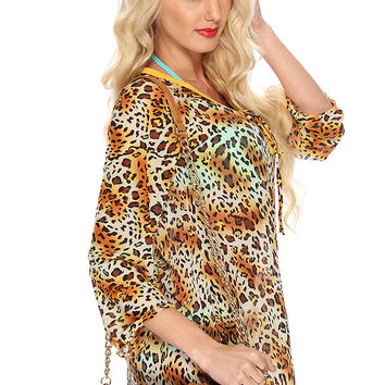 Tan Leopard Sheer Swimsuit Cover Up