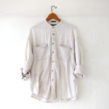 vintage linen shirt. mens button down shirt. natural creamy white. minimalist shirt