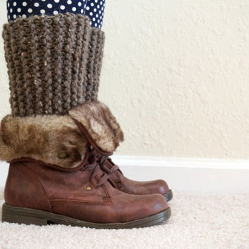 knit boot cuffs, knit leg warmers, long boot cuffs, ribbed leg warmers, knit boot toppers, wool boot socks, leg cuffs / THE ZELDA / Barley