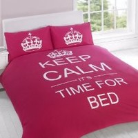 KEEP CALM LUXURY PRINTED SINGLE BED DUVET COVER BEDDING SET + PILLOWCASE - PINK