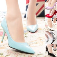 Slip Pointed High Heel Shoes