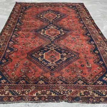 6.5 x 10.3 Fine Quality Shirazi Antique Hand Knotted Area Rug, Carpet, Home Decoration, Article A505