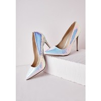 Stiletto Heel Court Shoe White Holographic - Shoes - High Heels - Missguided