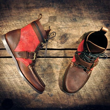 Handcrafted Leather Single Strap BOOTS - Oiled Tan Cowhide & Red Perf. Italian Lambskin with Laser Etched Japanese Floral - MADE to ORDER