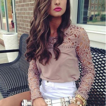 Women's Fashion Hot Sale Lace Mosaic Hollow Out Slim Round-neck Long Sleeve T-shirts [6047929281]