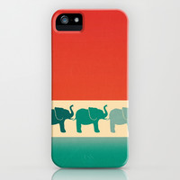 Three Elephants - Burnt orange, cream & teal iPhone & iPod Case by Perrin Le Feuvre