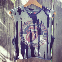 Vintage style studded Rolling Stones crop top shirt