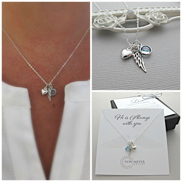 Memorial Gift, Sympathy Gift, Angel Wing, Necklace, Personalized Gift, Loss of Father, Loss Of Brother