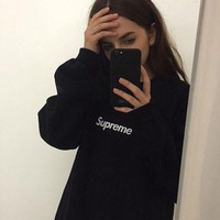 supreme couple casual letter print velvet long sleeve pullover sweatshirt top sweater-1