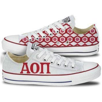 DCCKHD9 Alpha Omicron Pi Converse Low Top Red Pattern