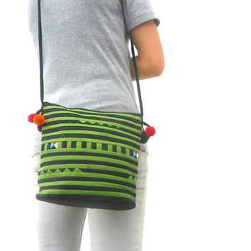 Black Green Color Crossbody Bag Hill Tribe Bag Boho Bag Hobo Bag Ethnic Bag Bohemian Bag Art Bag Purse Bag Hippie Hobo Bag Gift Pom Pom Bag